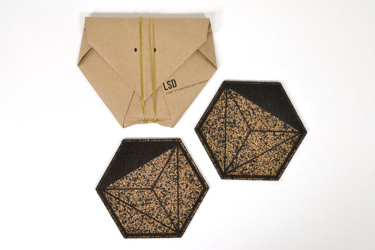 Honeycomb Coasters (Pair) - Speckled by Leg Studios