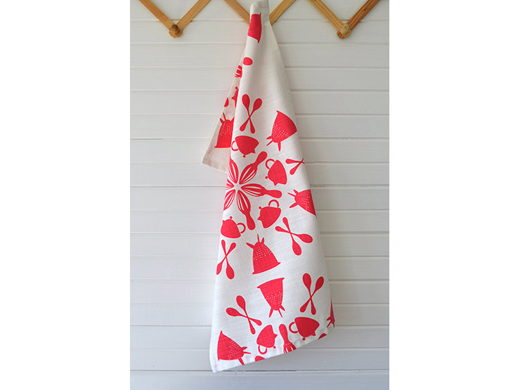 "Rasperry Red ""In-a-Spin"" Tea Towel by i Spy"
