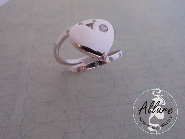 Sterling Silver Split-band Heart Ring  by Allure Handmade Jewellery