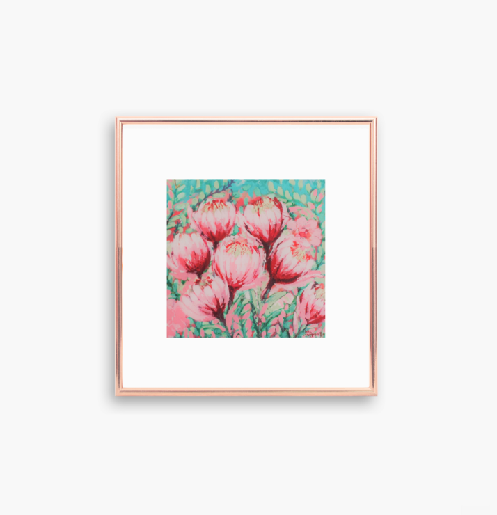 Printable Pink and Mint Green Protea Flowers Abstract Acrylic Painting in Size 10 x 10 and 8 x 8 inches (PDF). Small Square Wall Art for Nature Lovers made by Cape Town Artist, Adri Voulgarellis by WHISP by Adri