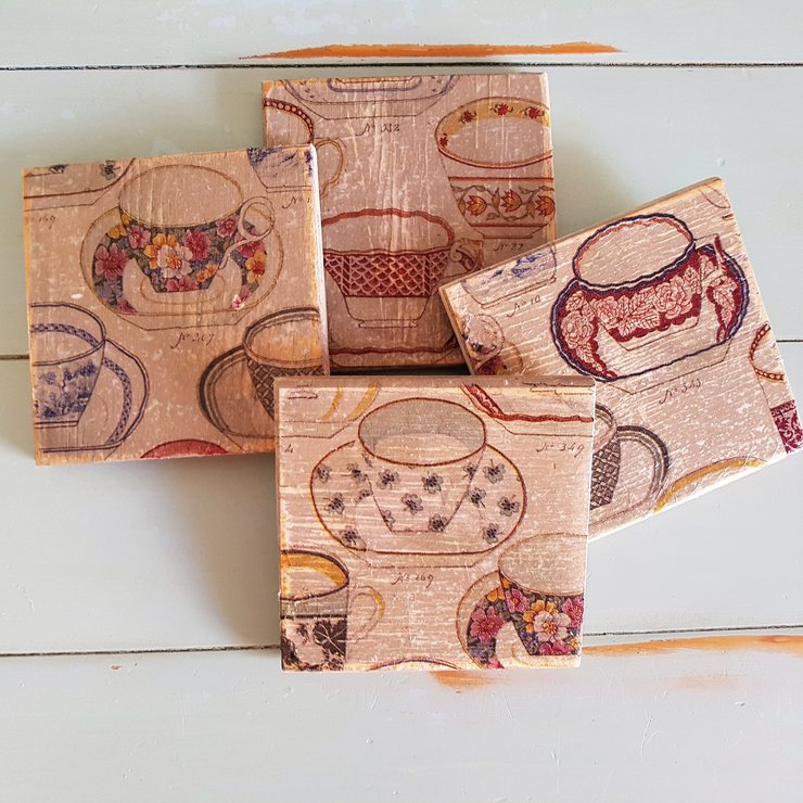 Square coasters Tea Cups by made-with-love