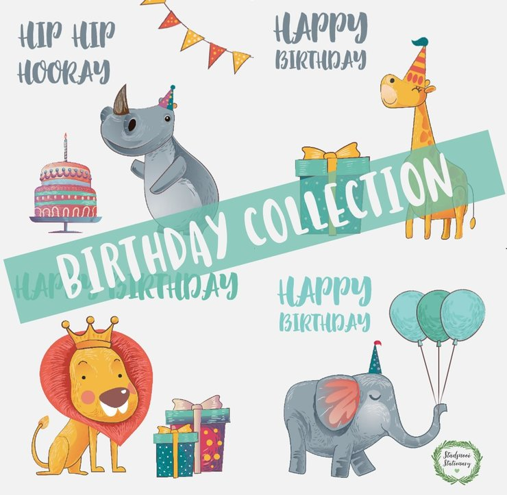 Birthday Collection - Greeting Card (4 Pack) by Stadsnooi Stationary