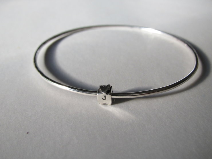 Sterling Silver Bangle with Dice by Liwo Design