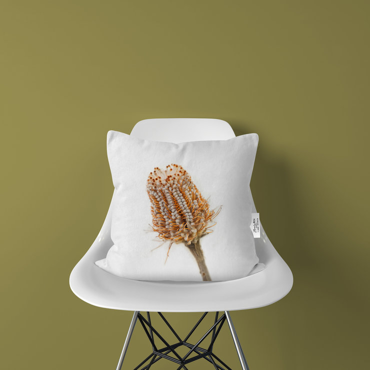 Banksia Protea Cushion Cover | Flora White Photo-Botanicals by LindnrCo