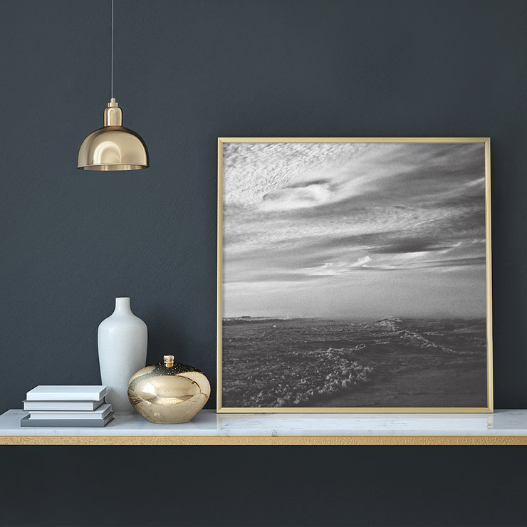 Stormy Seas Photography Print | 60x60cm | Ocean | Waves | Black and White | Monochrome | Sunset | Blue Skies | Landscape | Nature by Sonny Mo Arts