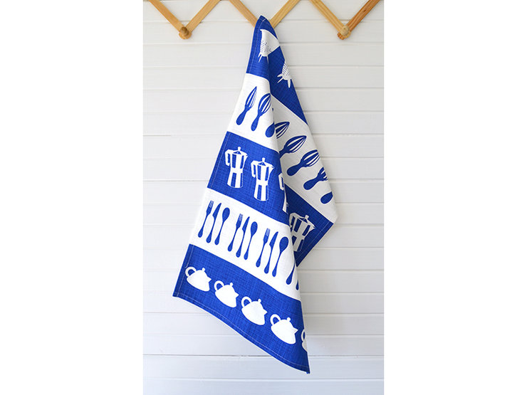 "Royal Blue ""Kitchen Stripes"" Tea Towel by i Spy"