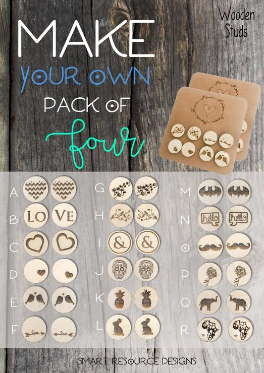 MAKE YOUR OWN SET OF 4 WOODEN STUDS (M0311) by Miss Magpie