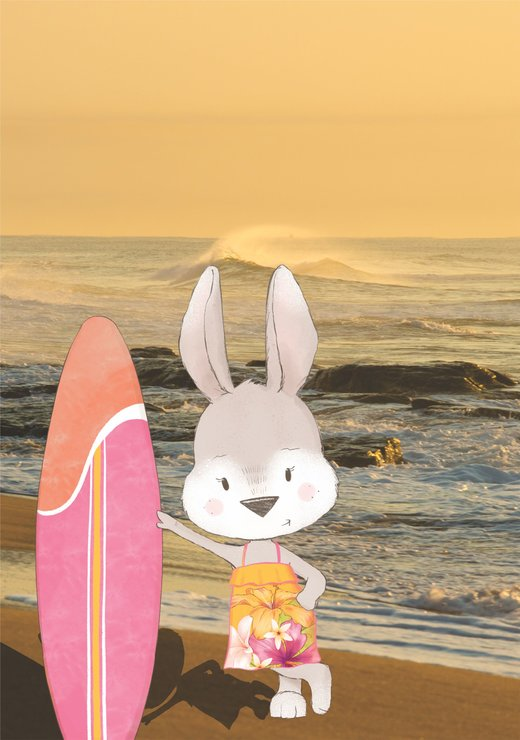 sunset beach bunny by Beyond Photography