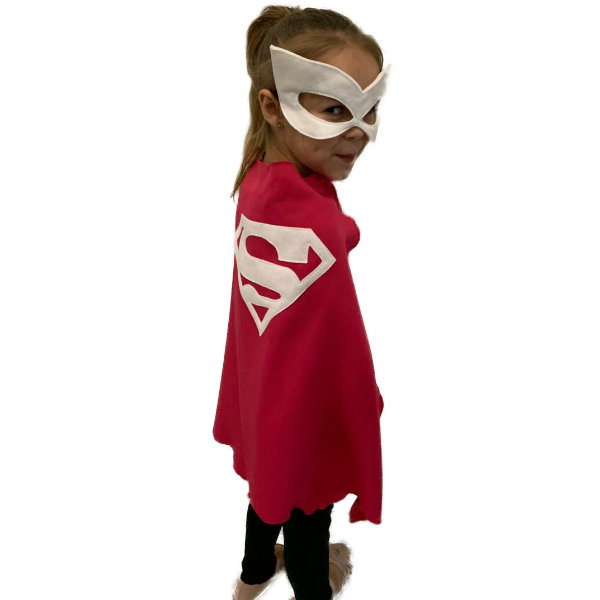 Supergirl pink superhero cape and mask by Going Dutch In Sa