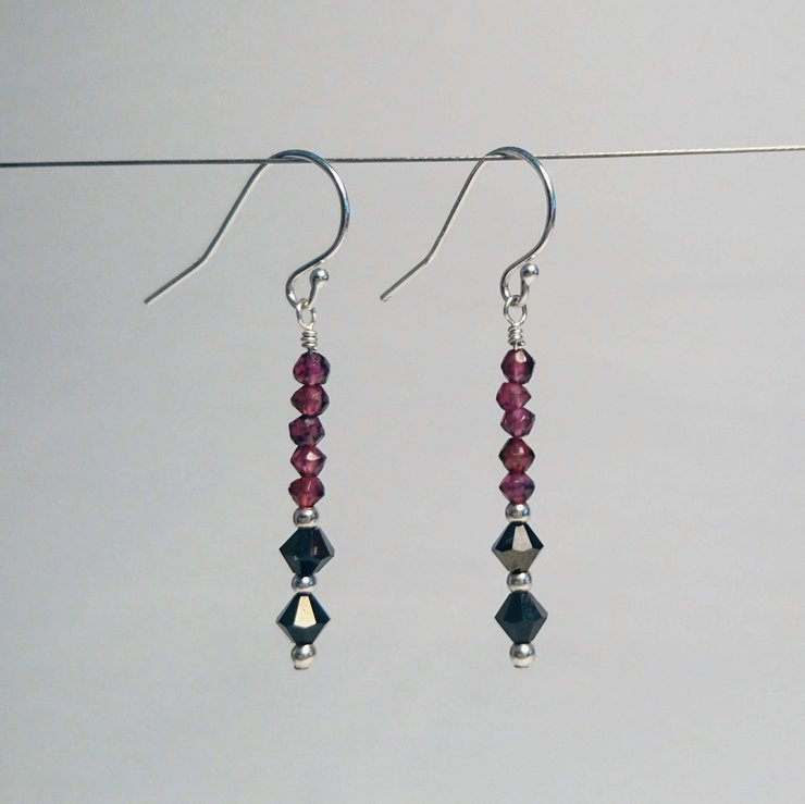Swarovski & garnet on sterling silver earrings  by Ochre