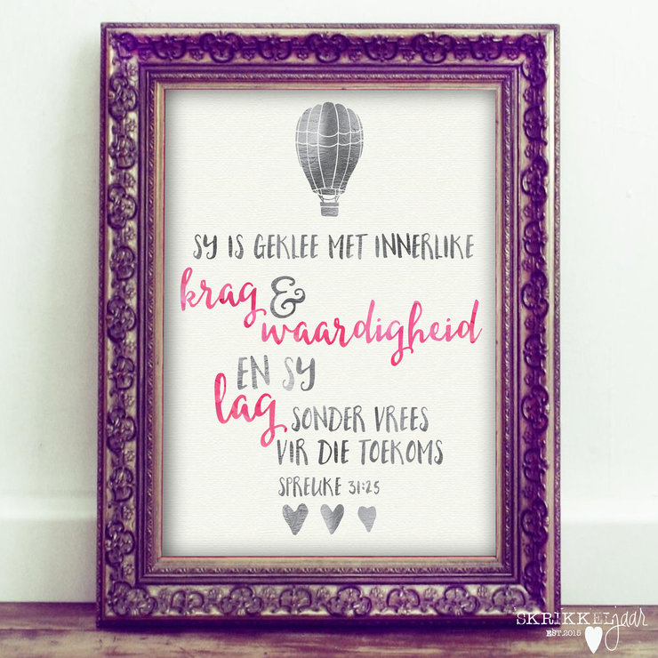 Printable Nursery Wall Art - Sy is geklee by Skrikkeljaar