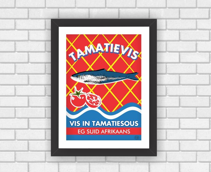 Wall Art South African Afrikaans Tamatievis Graphic Poster Modern Art Food  by Owling South Africa