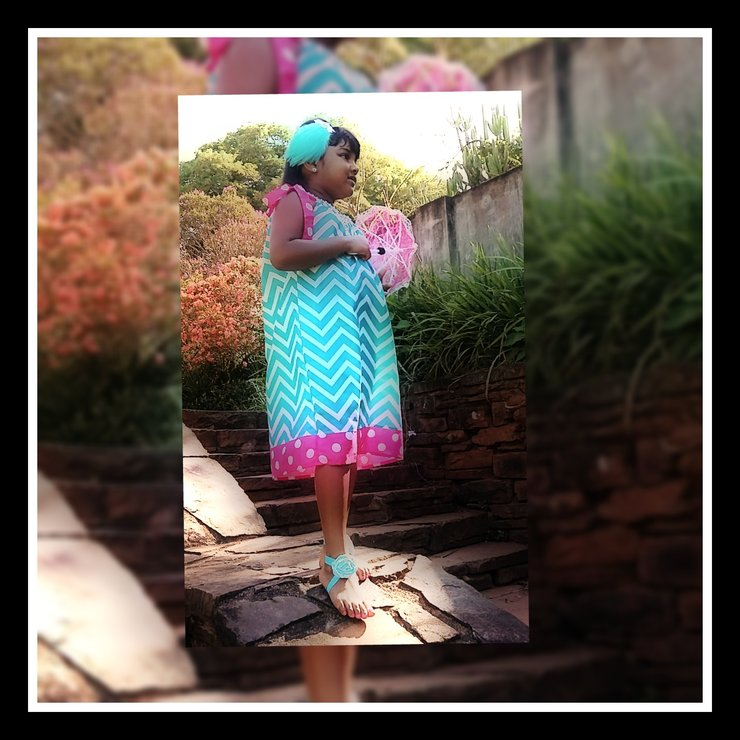 Bright Pink And Blue Dress by Tootzi Toez Exube'rance