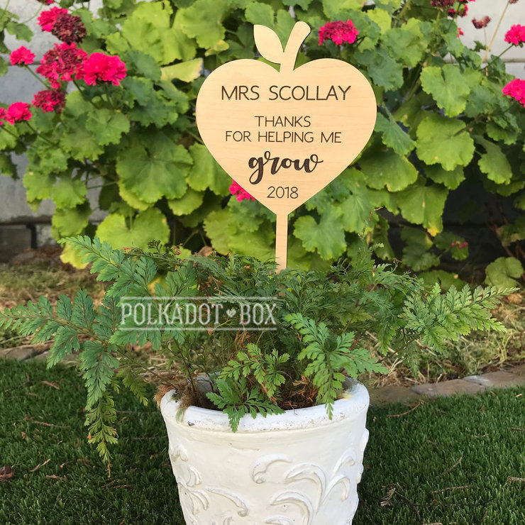 Custom Plant Stick Teacher's gift (excludes plant) by Polkadot Box