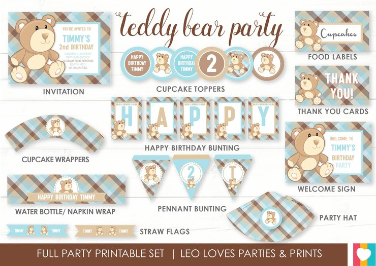 Teddy Bear Party Printable Set By Leo Loves Invitations