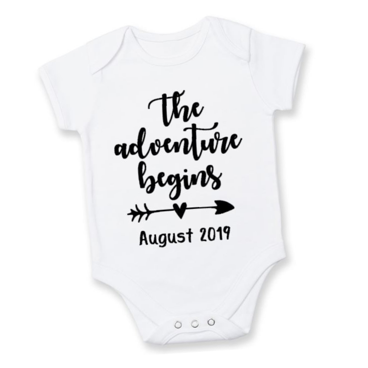 7892855eb BABY ANNOUNCEMENT/PREGNANCY REVEAL onesie / Our Greatest Adventure Begins /  Baby Grow - Baby bodyvest - Unisex - cute onesie - Baby Announcement Idea  ...