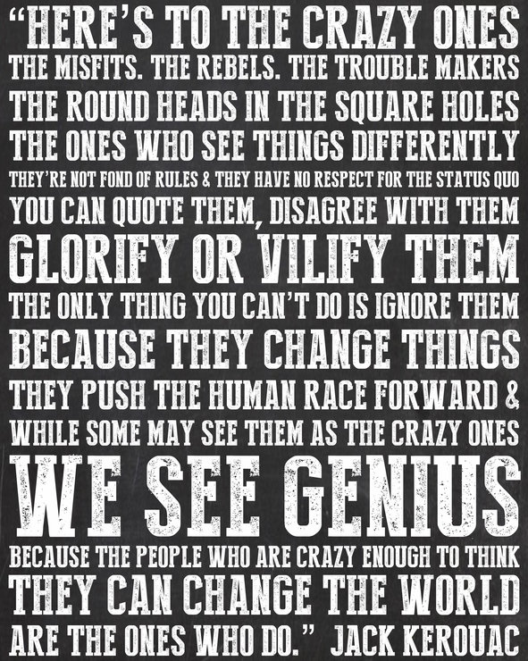 Typography Digital Print - Here's To The Crazy Ones