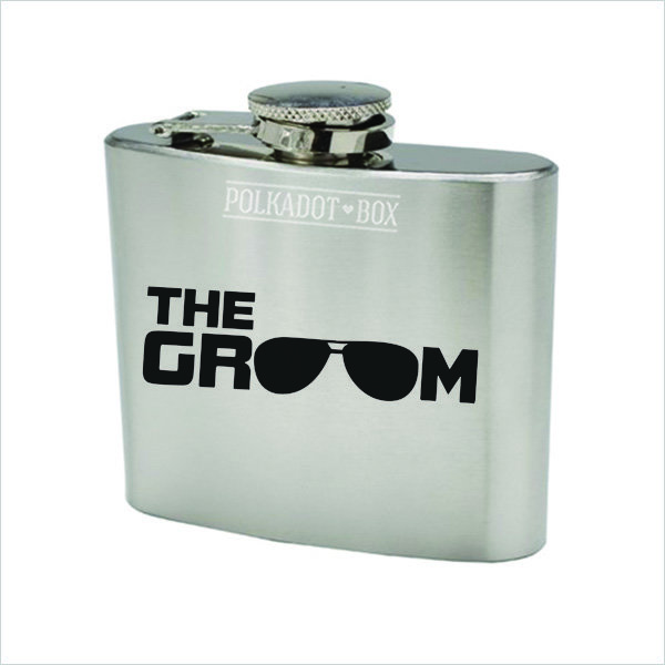 The Groom 147ml Stainless Steel Flask  by Polkadot Box