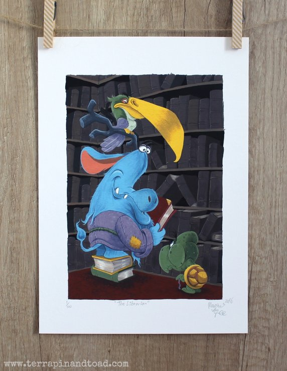 The Librarian, Childrens Room Art, Fine Art Print, gouache illustration by Terrapin and Toad