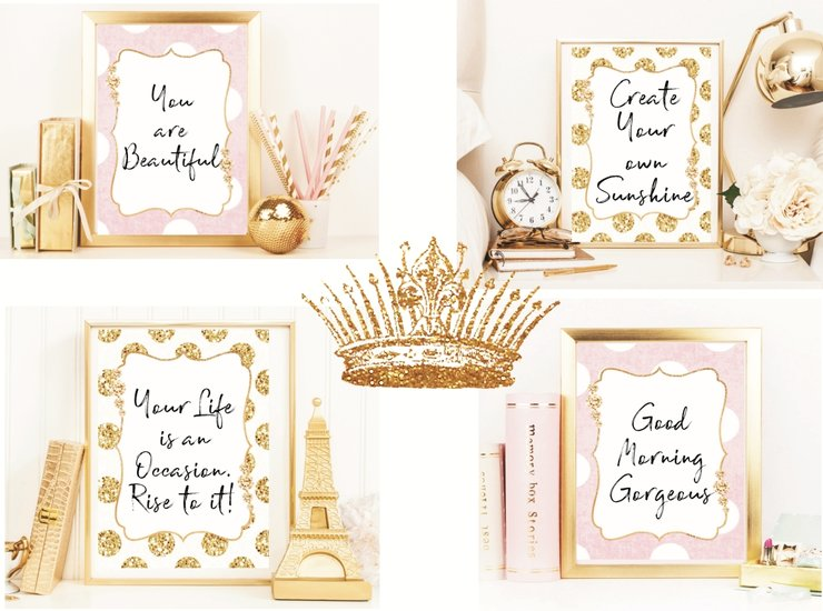 Personalized Quotes (4) on Chic Glam Posters by The Sparkling Star
