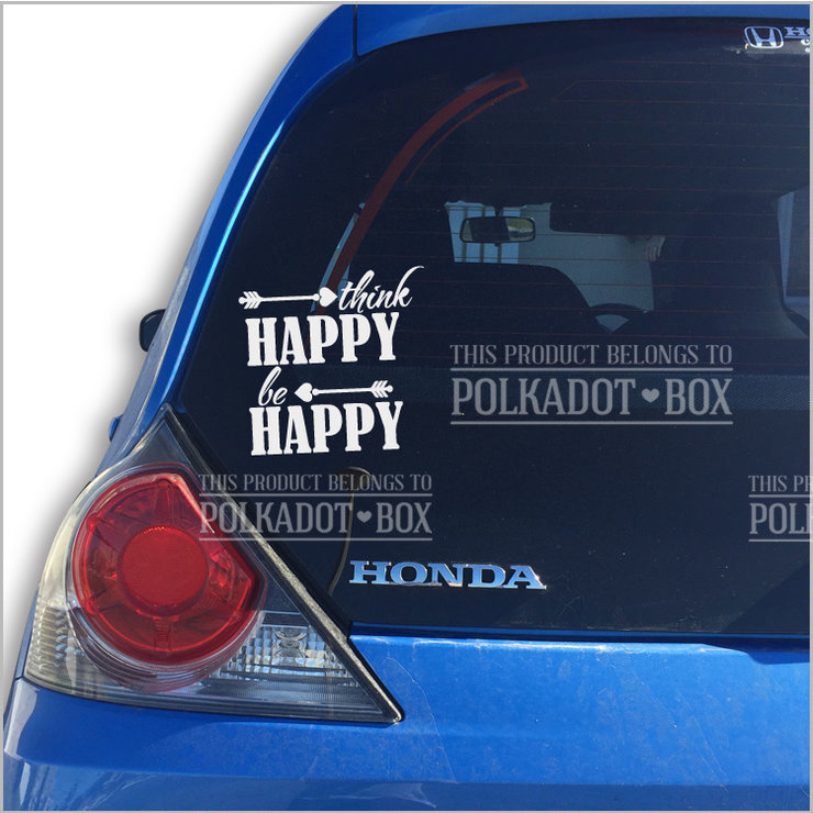Think Happy Car Decal by Polkadot Box