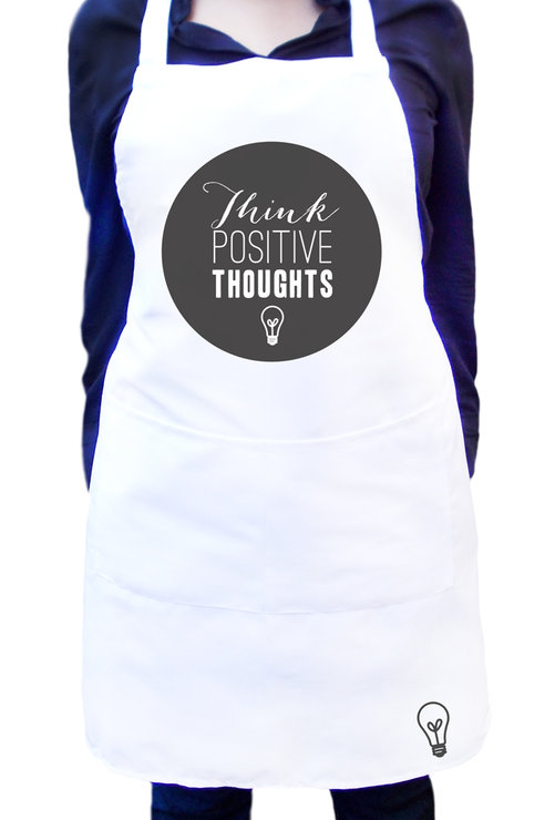 White Kitchen Apron kitchen apron with colour design - think positive thoughts