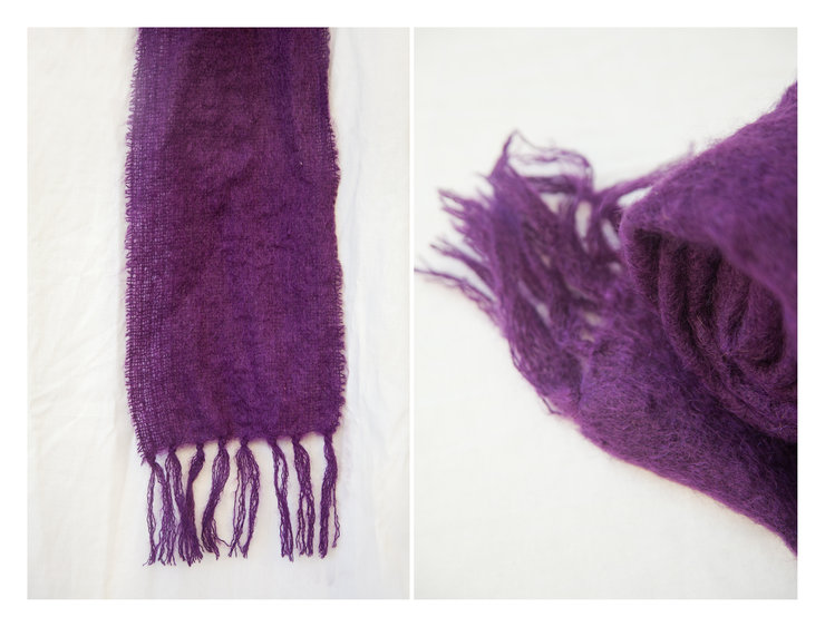 Grape Purple Mohair Scarf by Thrifty Magpie