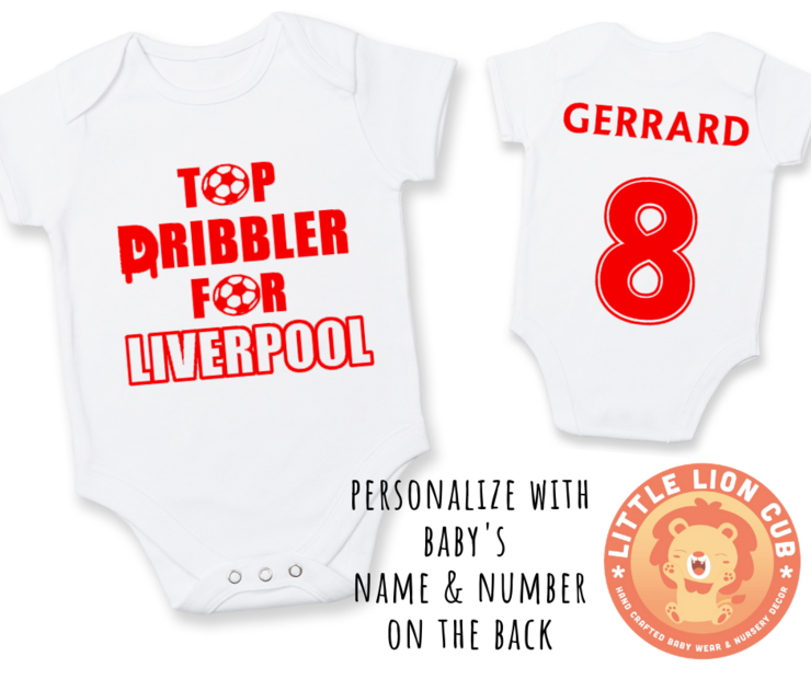 PERSONALISED LIVERPOOL FC Baby Grow with NAME & NUMBER/ Top DRIBBLER for LIVERPOOL Onesie / Grower/ Bodyvest / Baby Clothes /Baby Shower Gift by Little Lion Cub Boutique