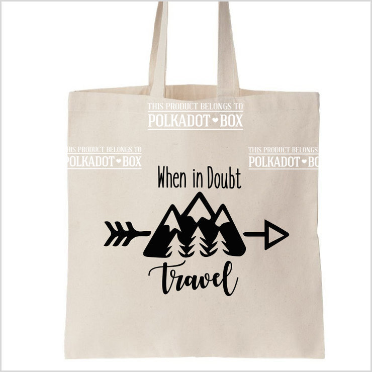 Travel Quote Tote Bag by Polkadot Box