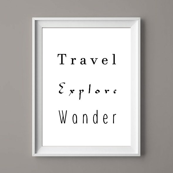 Travel Explore Wander - Typography Art Printable Digital File by  ImPrintable | Art