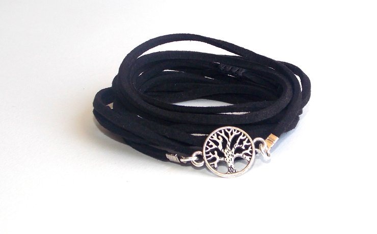 Silver Tree of Life Wrap- Black Suede by Lakota Inspirations