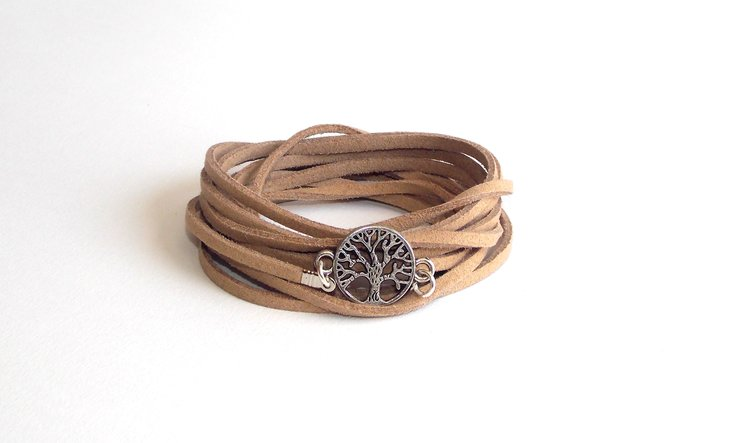 Silver Tree of Life Wrap- Caramel Suede by Lakota Inspirations