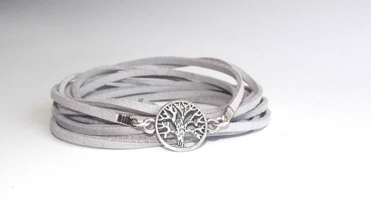 Silver Tree of Life Wrap- Grey Suede by Lakota Inspirations