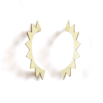Gilt Triangle Hoop Studs by SMITH Jewellery