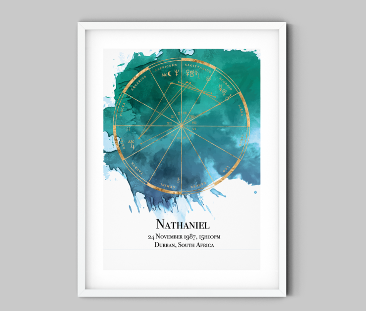 Turquoise Ink Spill Custom Birth Chart (Digital Download) by Fifth House