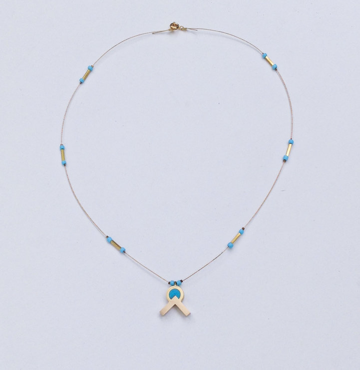 Small Beaded Necklace In Turquoise by dor&kie jewellery objects