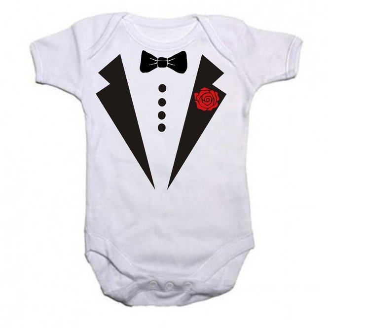 White Tuxedo baby grow by Qtees Africa (Pty)Ltd
