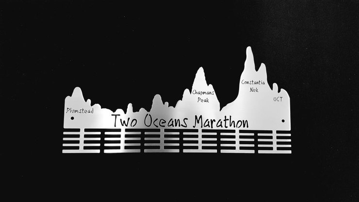 Two Oceans Marathon 48 tier medal hanger in Stainless steel brush finish by Medal Hanger & Home Décor Specialists - DC Designers