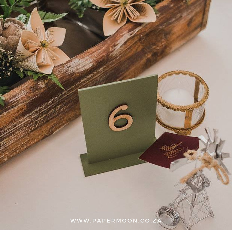 Retro Wooden Table Number by Papermoon
