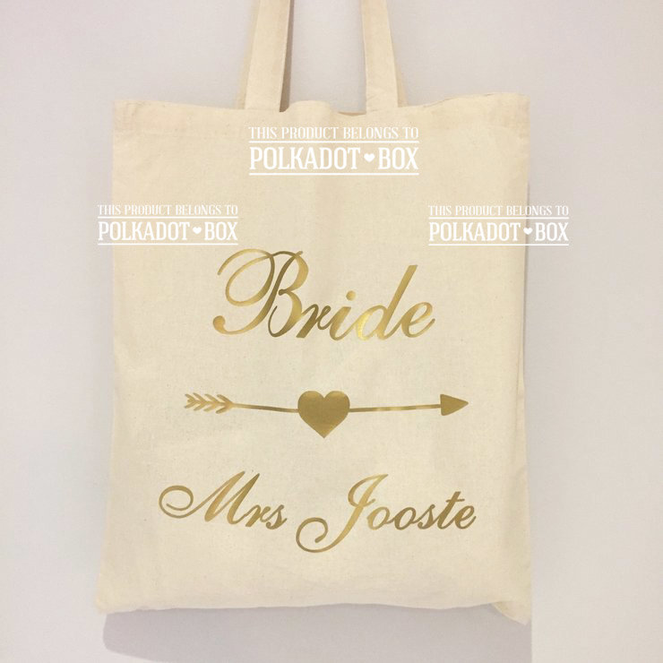 Custom Bride Tote Bag by Polkadot Box