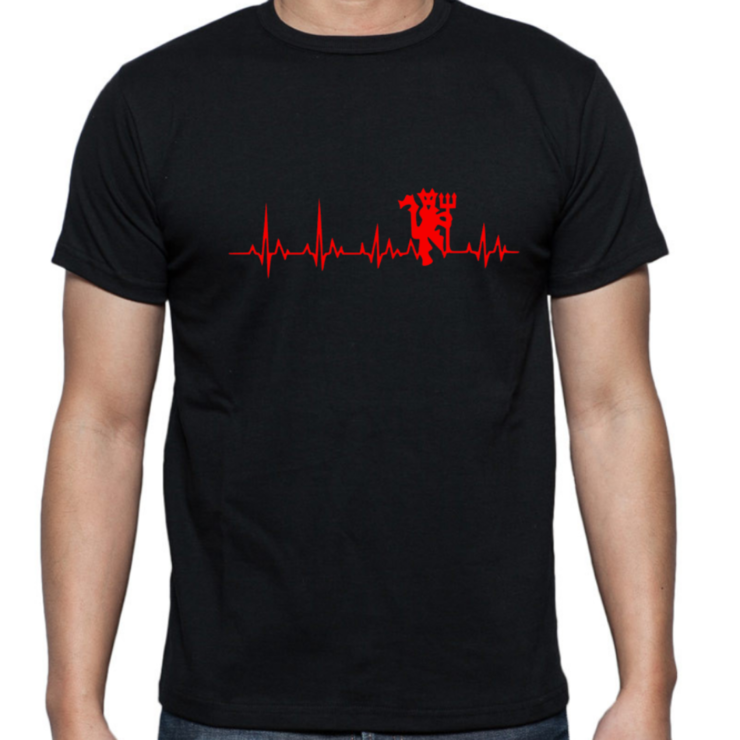MANCHESTER UNITED Heartbeat Adult T-shirt / RED DEVILS / Novelty T-Shirt/ Gift   by Little Lion Cub Studio