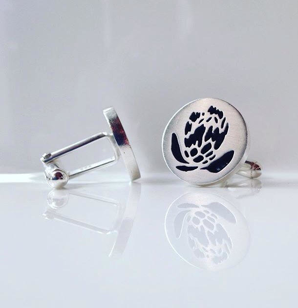 Protea cufflinks by Anvil&I