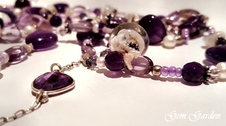Amethyst and Pearl Necklace by Gem Garden