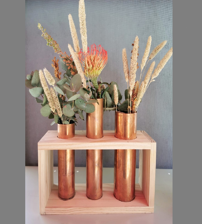 Frame with copper vases by Folksy Fine