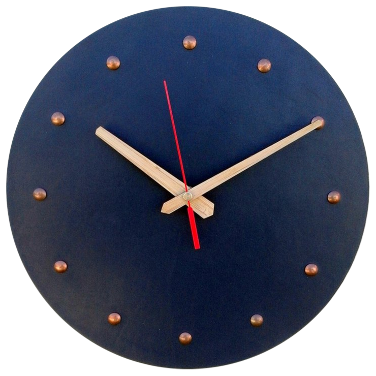 Dark Blue Leather Clock with Copper Numerals by CapeClocks