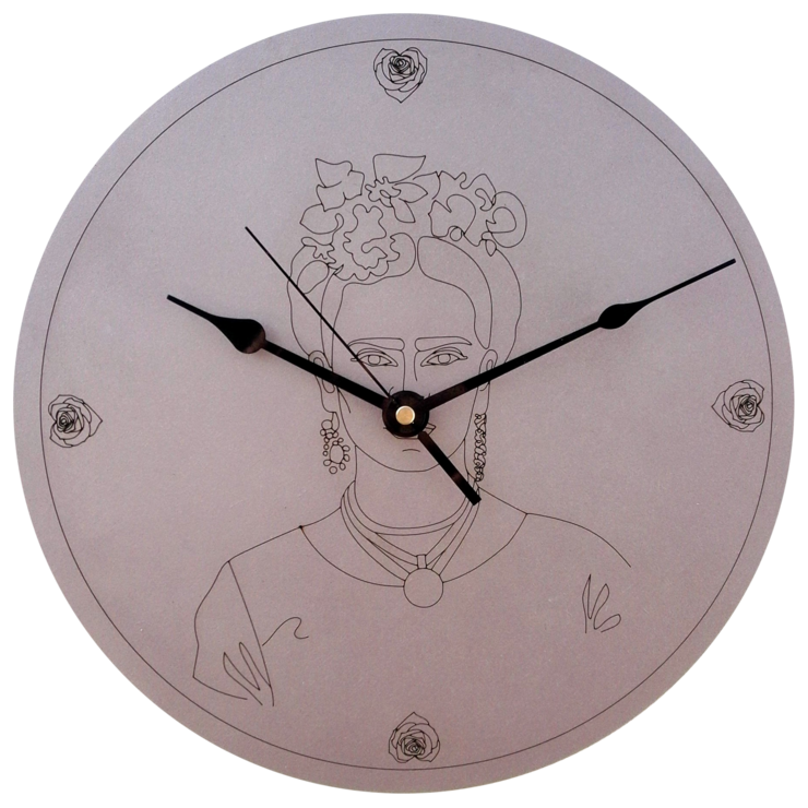 Frida Kahlo Rose Gold Clock by CapeClocks