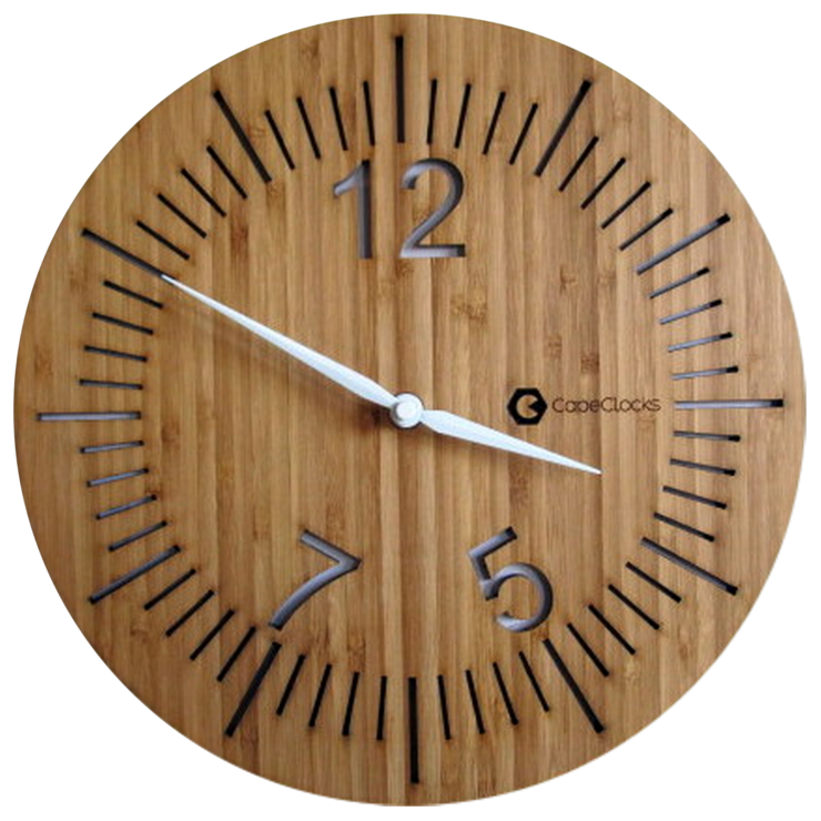 Round Full Digit Three Numbered Bamboo Clock by CapeClocks