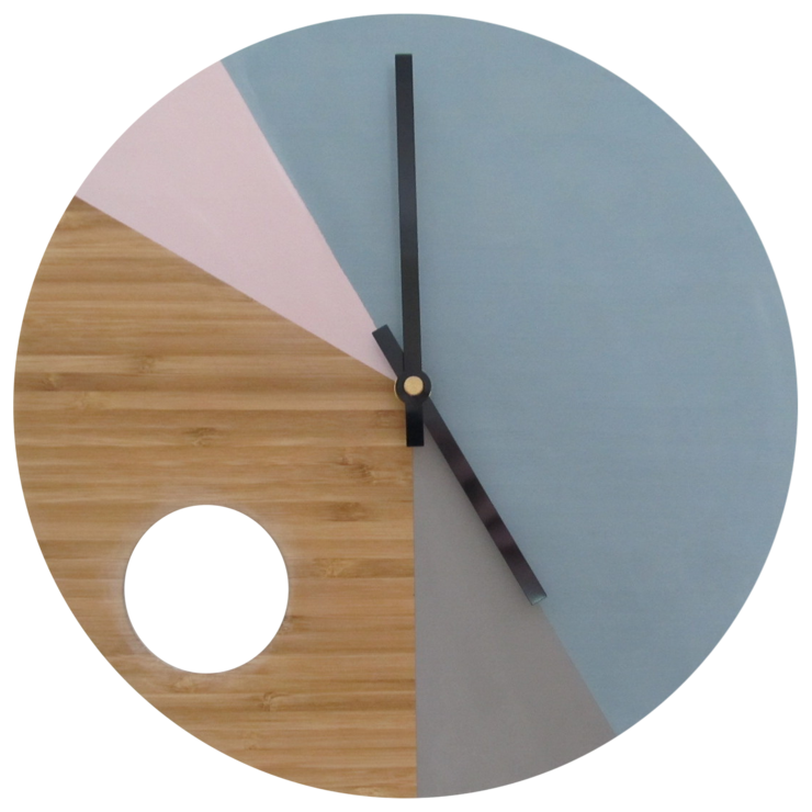 "Four Tone Chalk Paint Bamboo Clock ""Hole"" by CapeClocks"