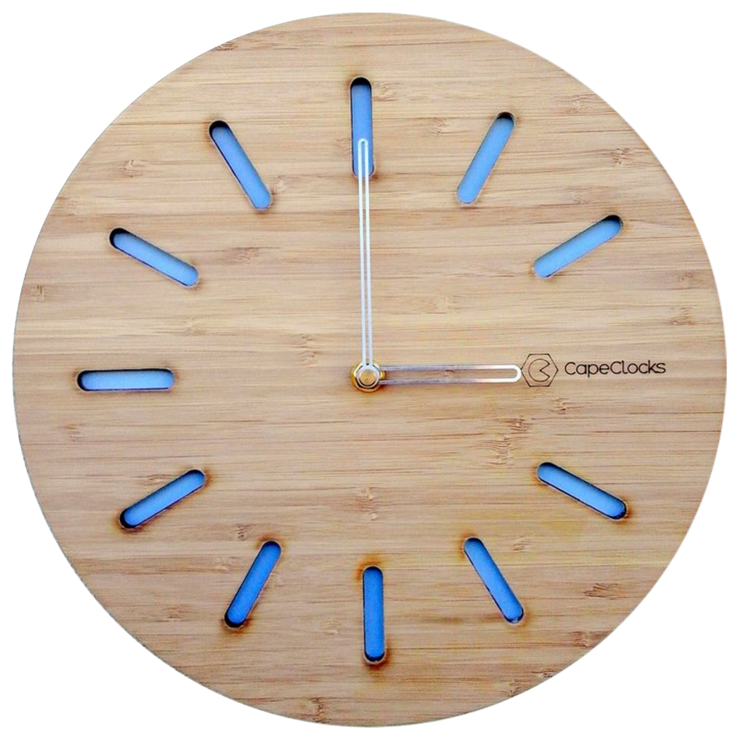 Rounded Slot Bamboo Clock by CapeClocks