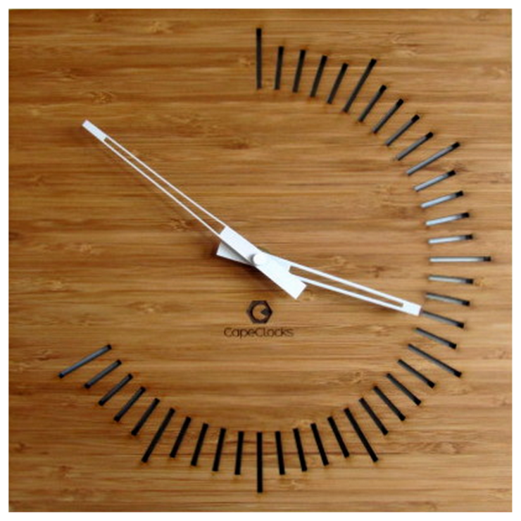 Square 240 Degree Digit Bamboo Clock by CapeClocks